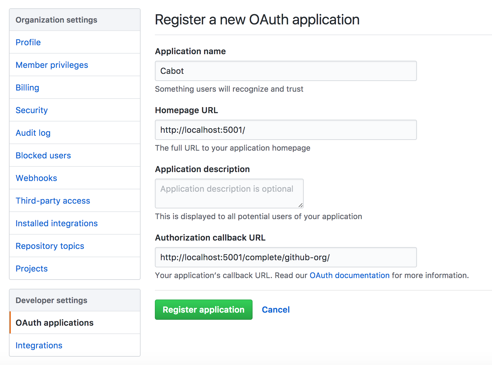 Create OAuth application